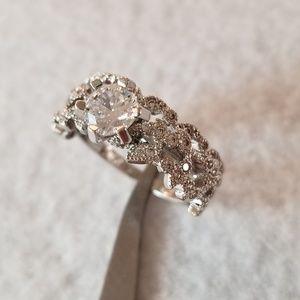 Leaf Design Sterling Ring Set